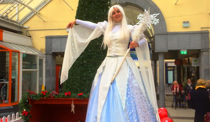 Snow Queen on stilts at a brilliant christmas event in Dublin and Kildare